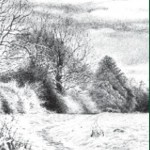 Landscape drawn with Derwent Onyx Pencil